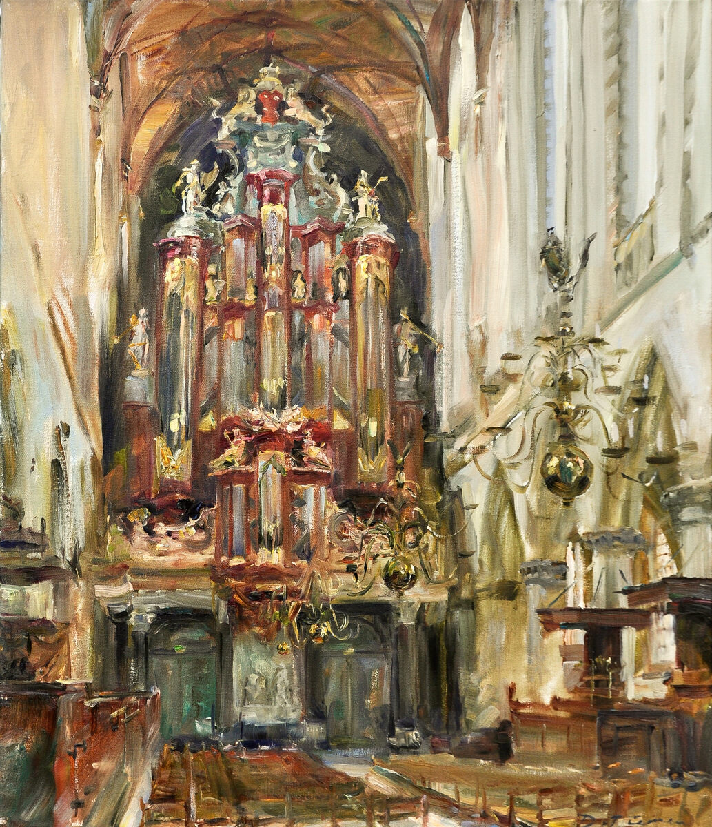 Dorien van Diemen, 'Müller orgel, st Bavokerk Haarlem' , Müller orgel, st Bavokerk Haarlem, olieverf / doek 70 x 60 cm.
