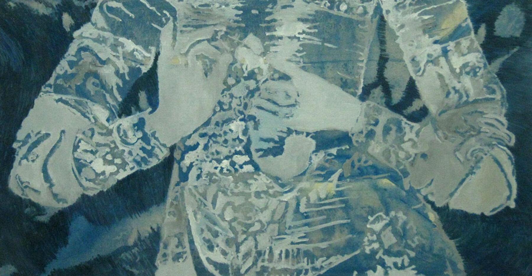 Peter de Graaff, 'Middle' 2 , olieverf / doek 70 x 130 cm.