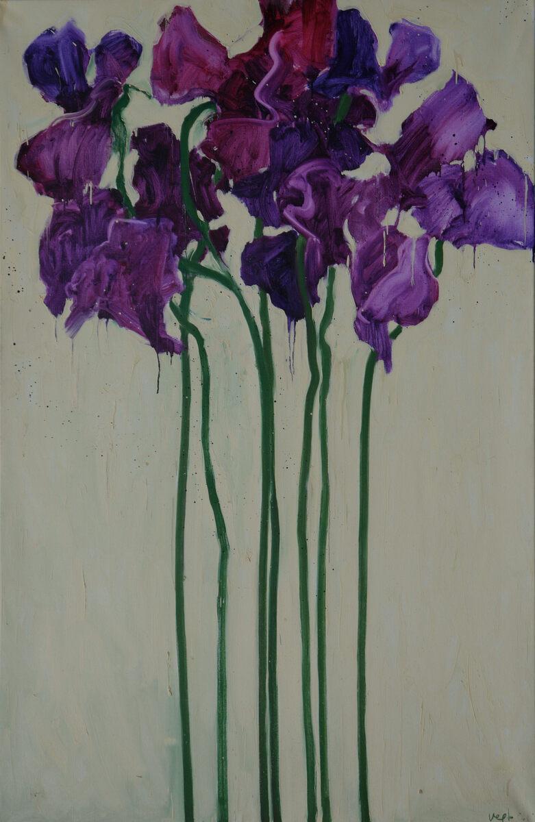 Hennie van der Vegt, 'Lathyrus' , olieverf / linnen 200 x 130 cm. 2001