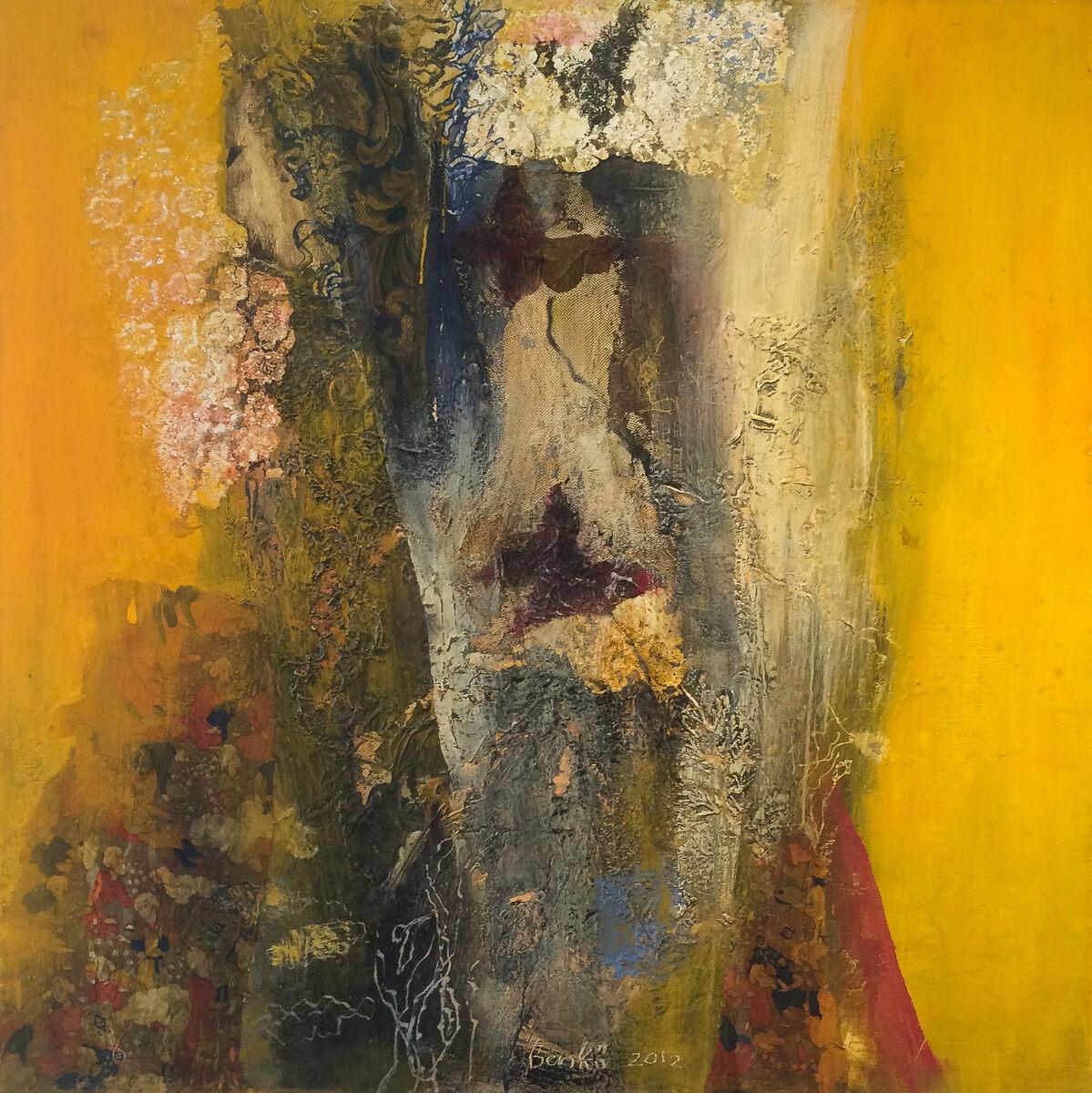 gvv, Marianne Benko  ''Gele Herinnering''  'Gele Herinnering' encaustiek/doek 100 x 100 cm.  3400