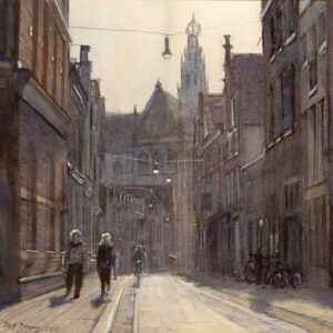 Titus Meeuws, 'Smedestraat' , aquarel , 38  x  40 cm.