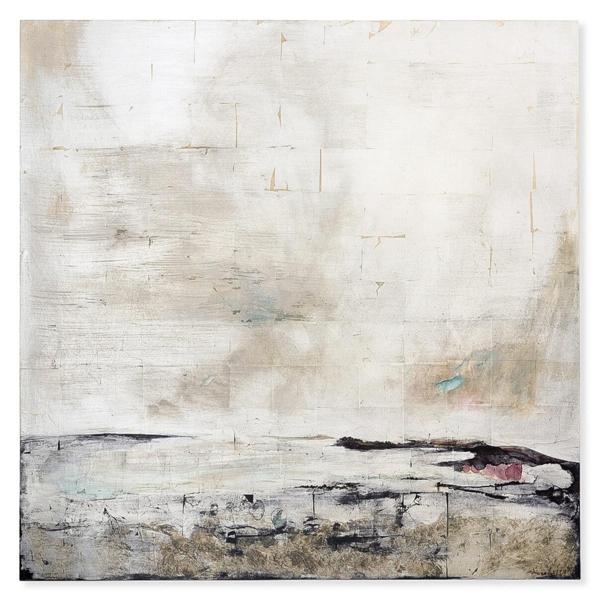 Alice Cescatti, gvv  'Mourning'  100x100 cm. bladzilver op paneel