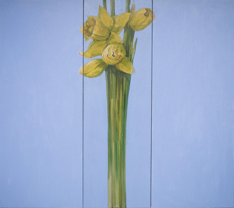Van der Vegt  Narcissen  olieverf op doek 200 x 225 cm.