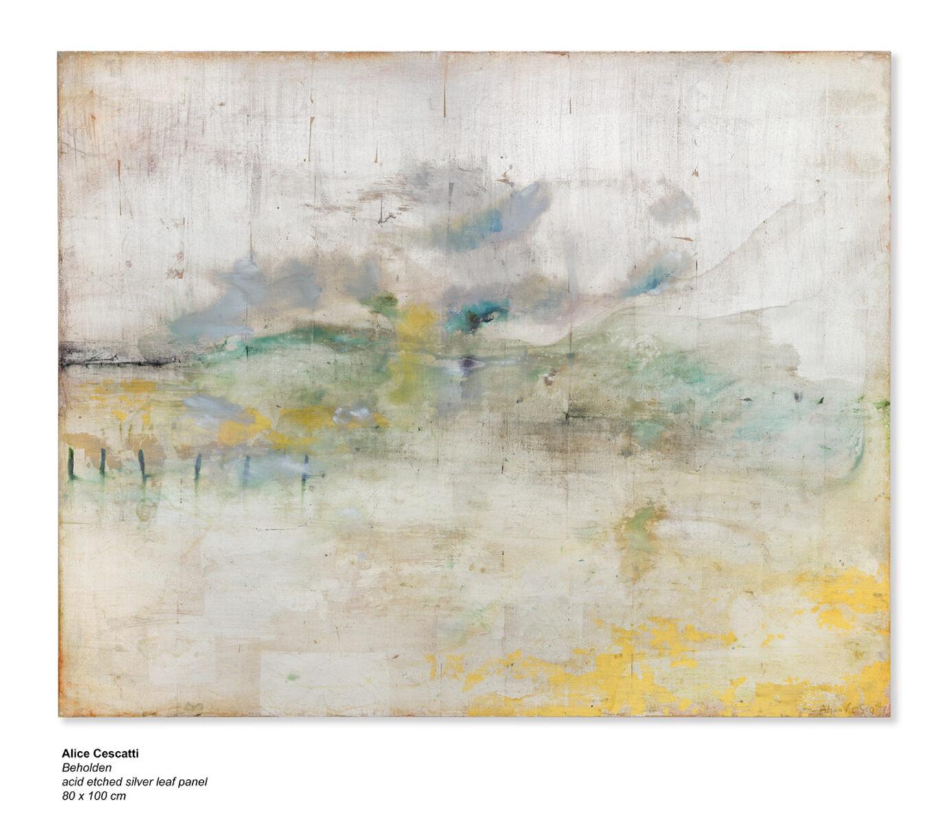 Alice Cescatti  Beholden  bladzilver 100 x 100 cm.