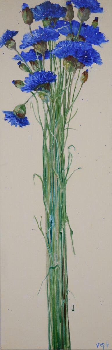Van der Vegt  Korenbloemen  olieverf op linnen 200 x 65 cm.