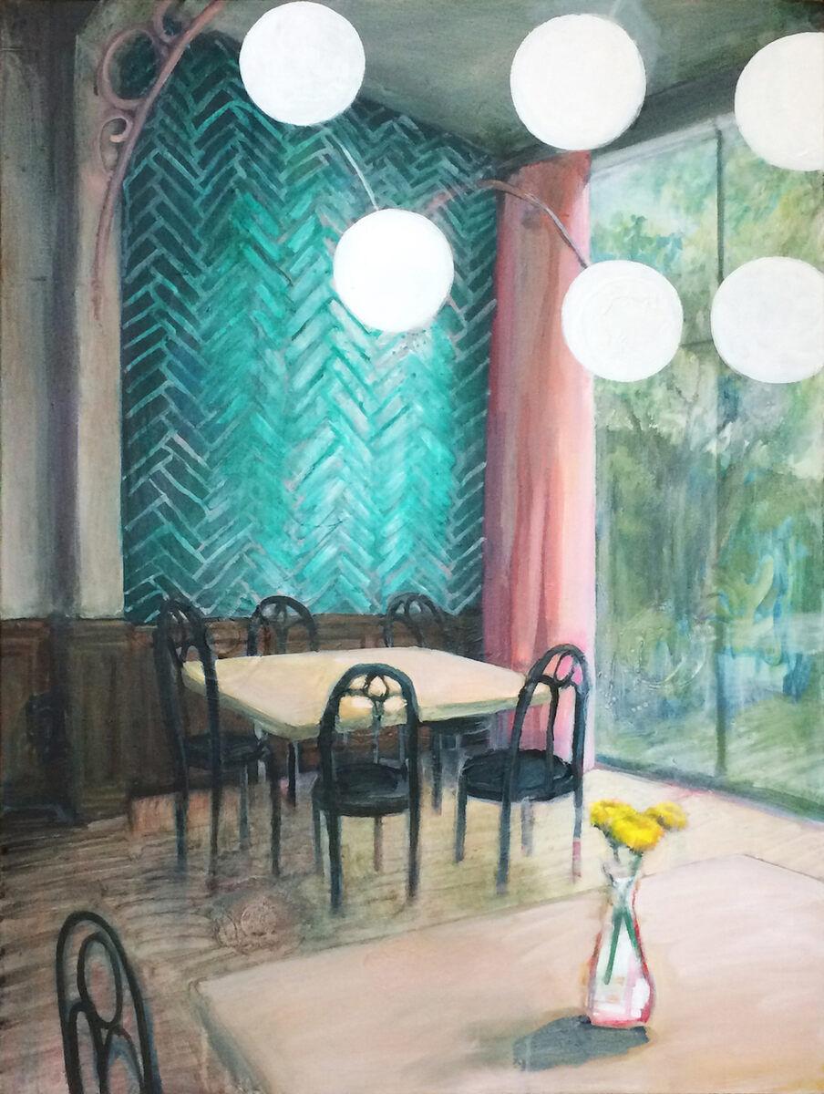Tamara Giesberts  Achterin de jonge haan  acryl/doek 100 x 75 cm.